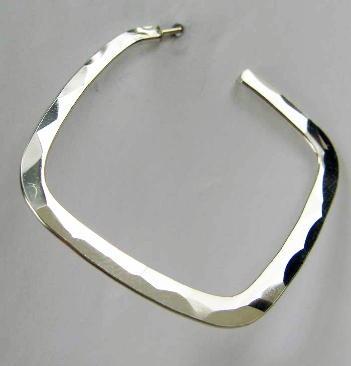 Hammered Silver Square Hoop Earrings