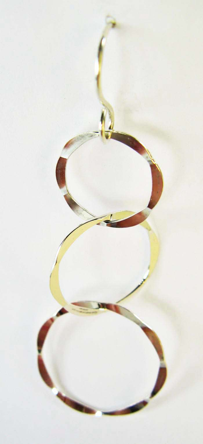 Three Hammered Rings Earrings