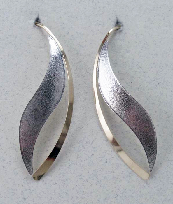 Silver  and Gold Open Leaf Matte Finish Earrings