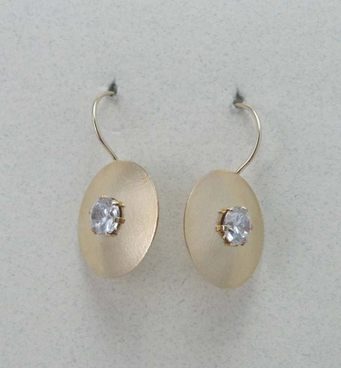 Matte Disc Short Drop with CZ Earrings