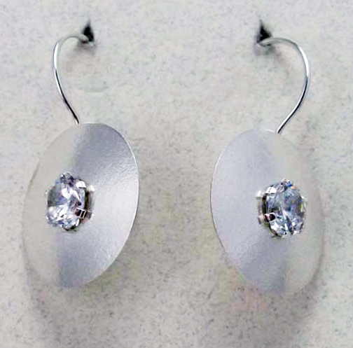 Earrings -  Round Drop in Matte Silver