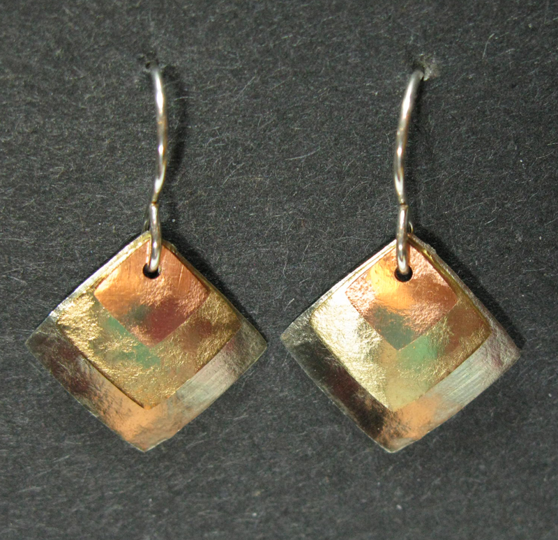 Layered Three Square Earrings