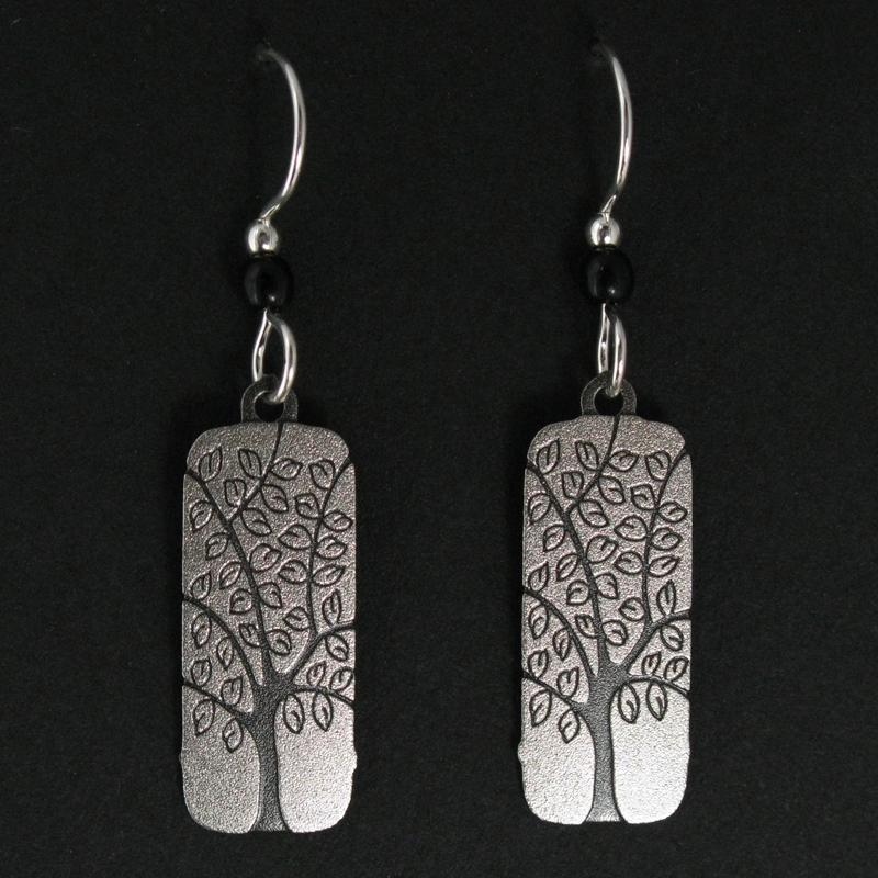 Rectangle with Tree Earrings