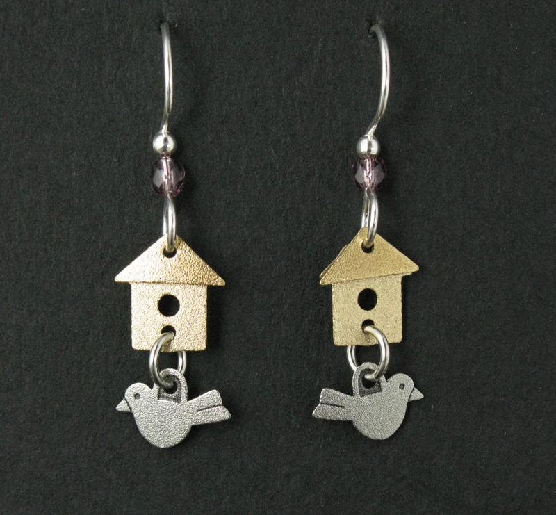 Birdhouse with Amethyst Bead Earrings