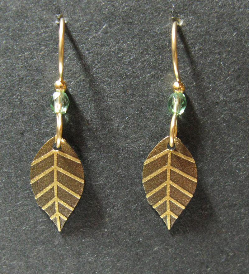 Simple Leaf Earrings with Green Bead