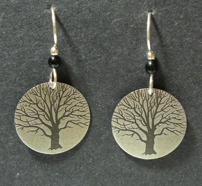 Silver Tree Earrings with Black Bead
