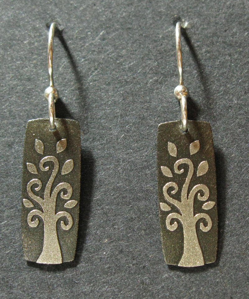 Rectangle with Tree Motif Earrings