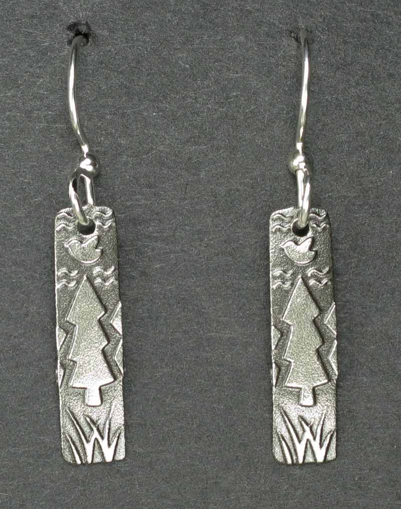 Long Rectangle with Tree Earrings
