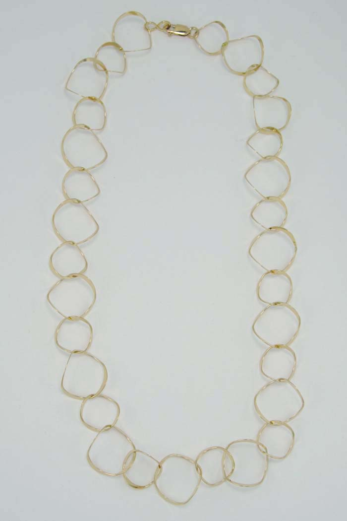 Long Necklace with Curved Rings