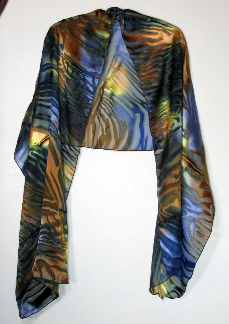 Hand-painted silk/rayon shawl - copper blues