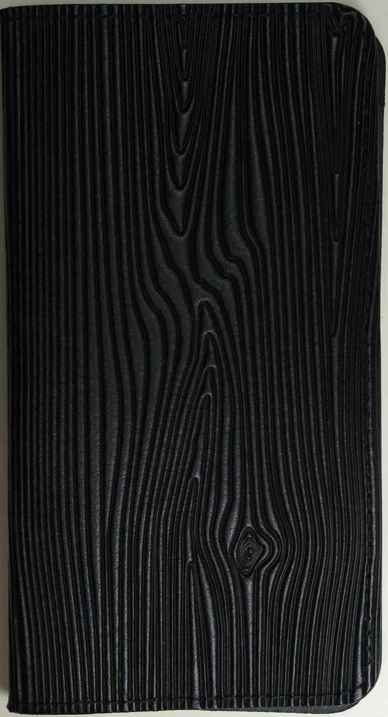 Leather Checkbook Cover - Woodgrain in Black