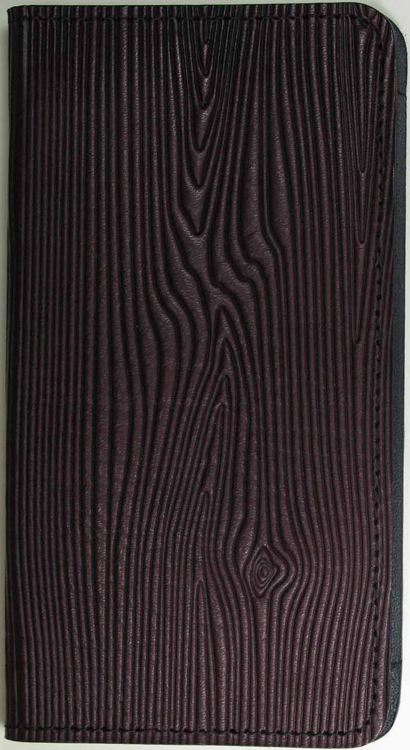 Leather Checkbook Cover - Woodgrain in Brown