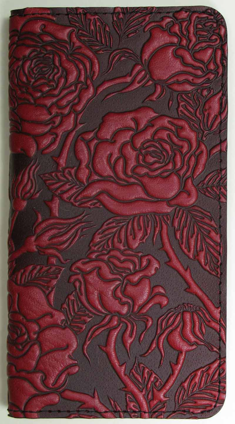 Leather Checkbook Cover - Wild Rose in Red