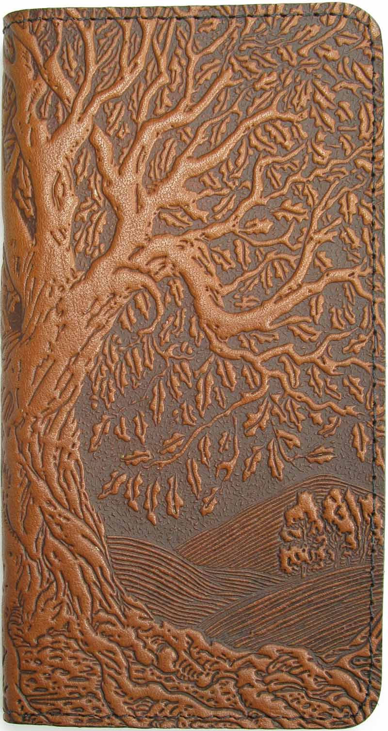 Leather Checkbook Cover - Tree of Life in Saddle