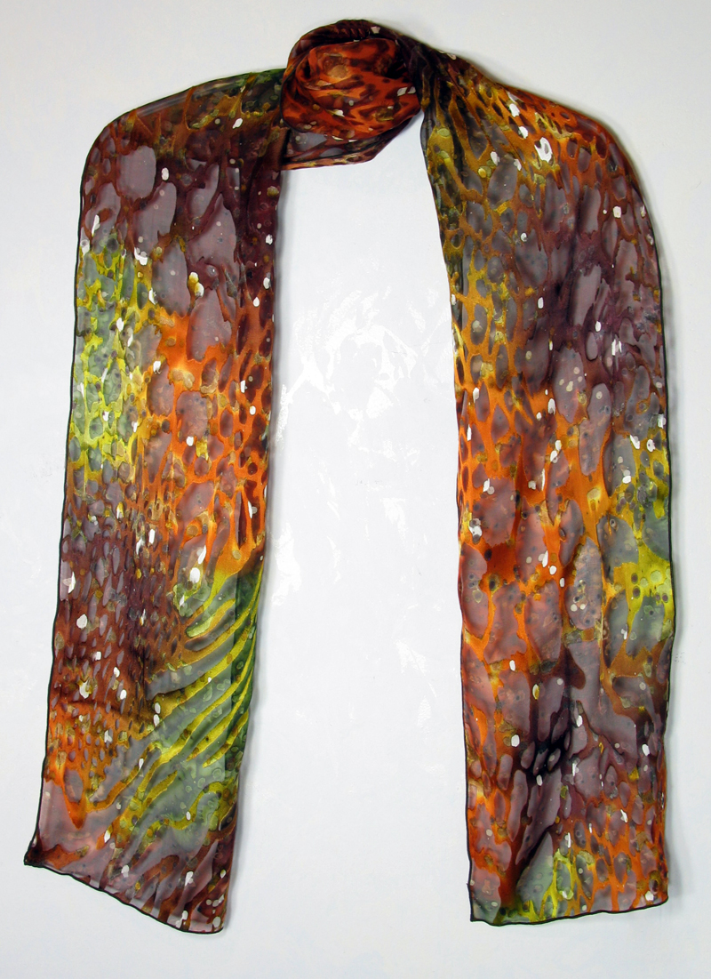 Hand-painted silk/rayon scarf - rust, poison green