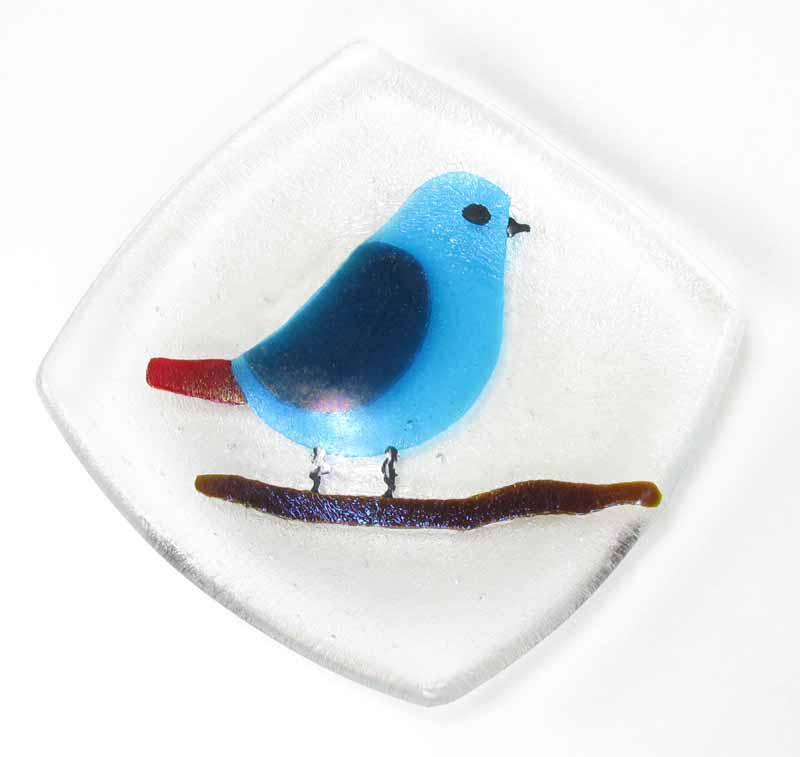 Glass Dish - Bird in Blue