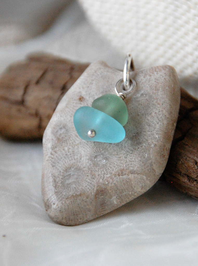Petoskey with Beach Glass Pendant