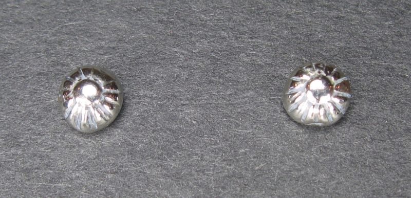 Tiny Silver Button Post Earrings