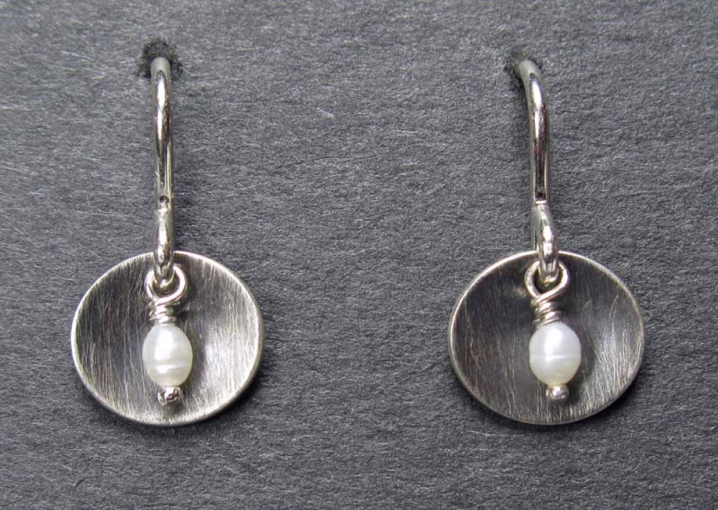 Cupped Antiqued Sterling Earrings with Pearl Center