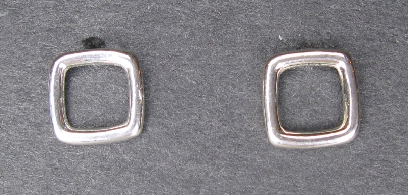 Small Silver Square Post Earrings