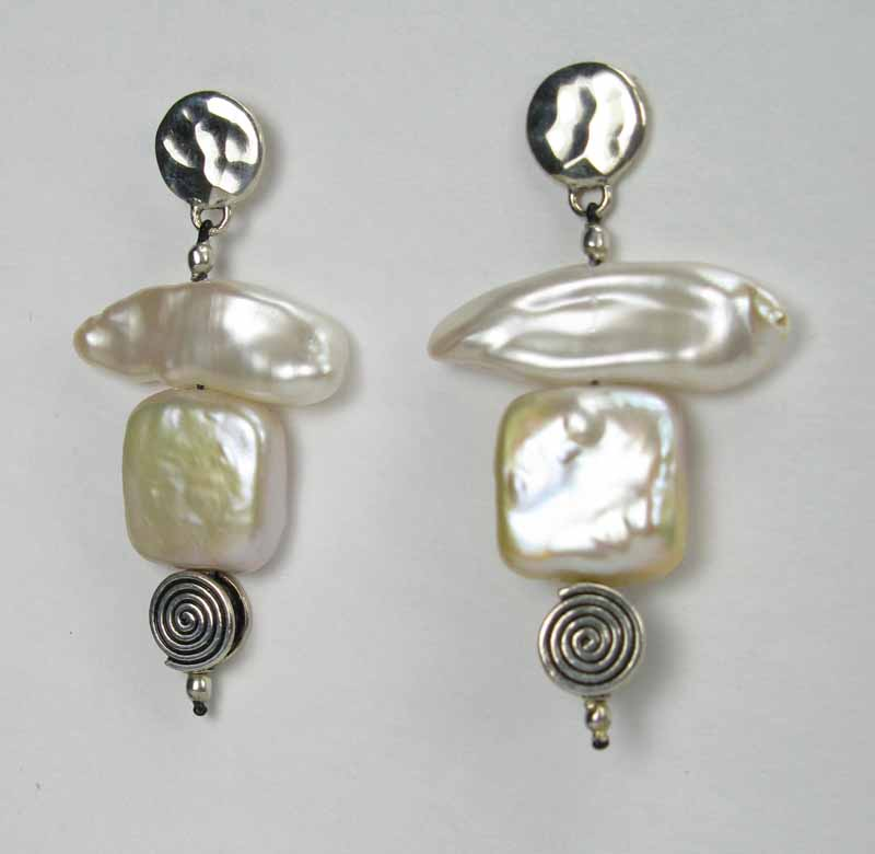 Square Pearl & Spirals Earrings - Square