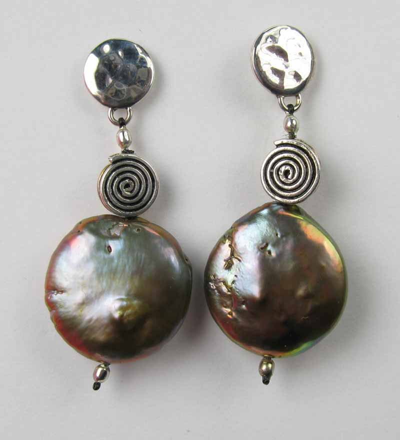 Copper Stacked Coin Pearl Earrings