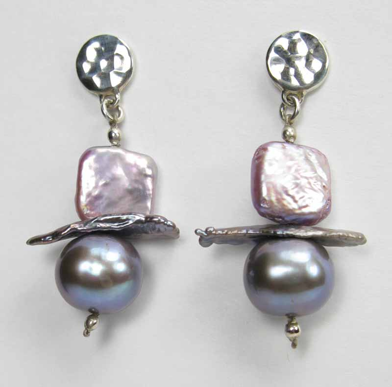 Coin Pearl Earrings - Square Keshi