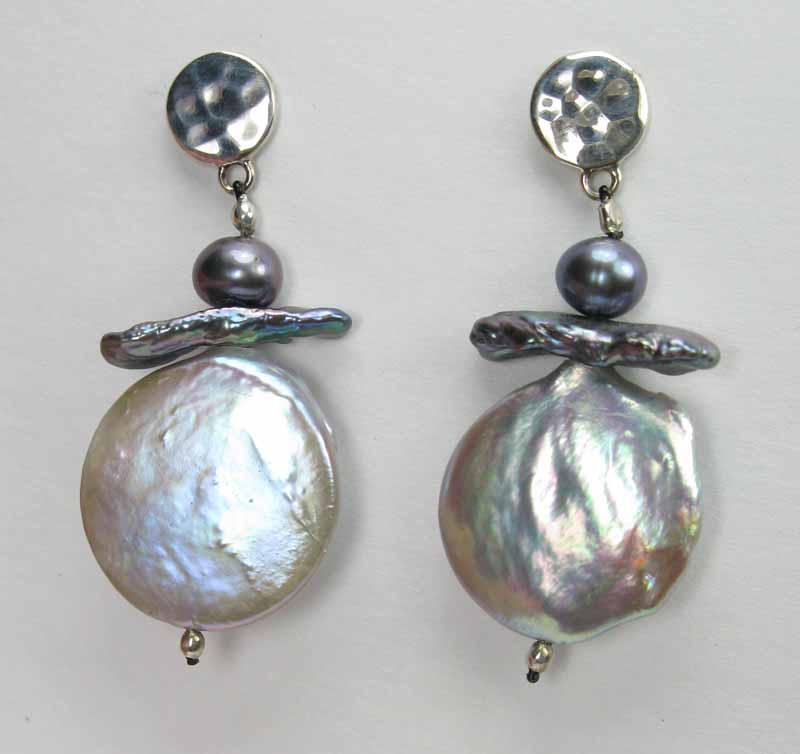 Large Pale Bue Coin Pearl Earrings