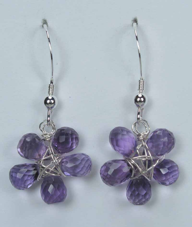 Silver Gemstone Flower Drop Earrings - Amythest