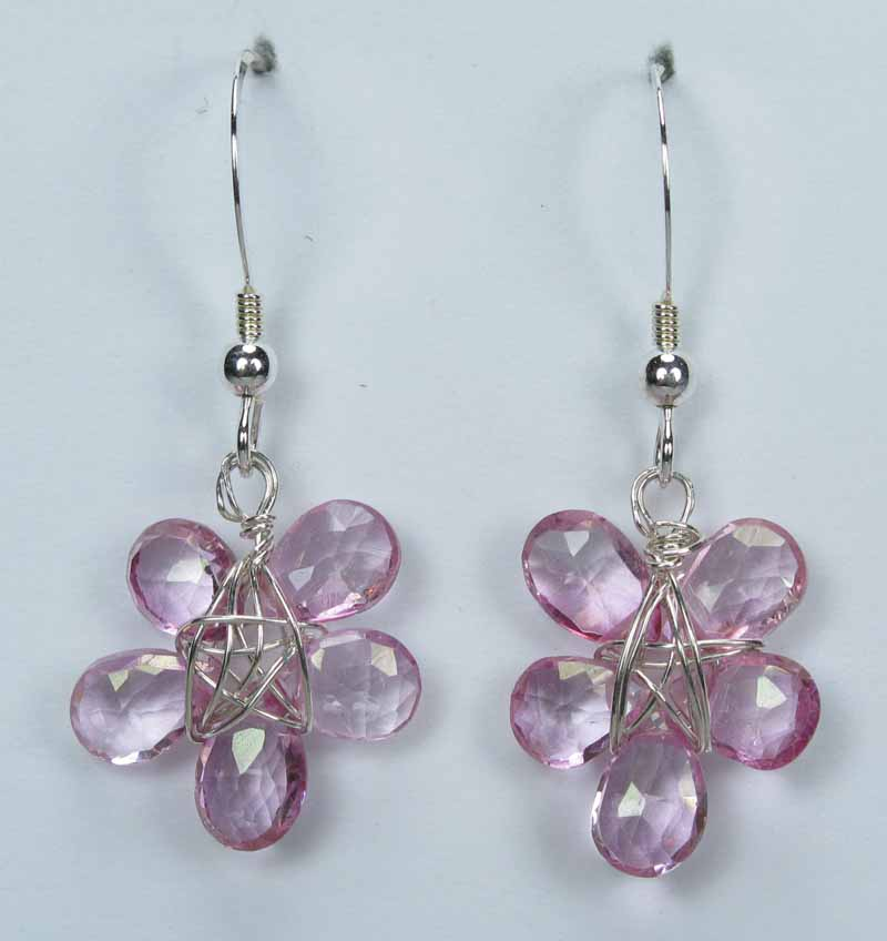 Silver Gemstone Flower Drop Earrings - Pink Topaz