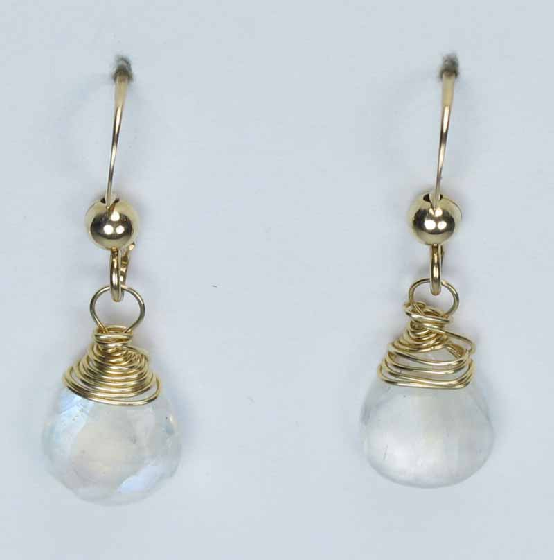 Gold Gemstone Drop Earrings - Moonstone