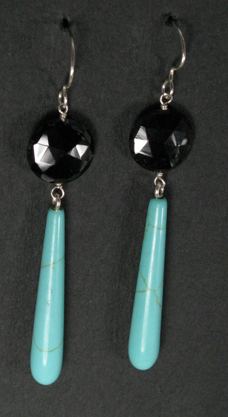 Long 2 Gemstone Earrings