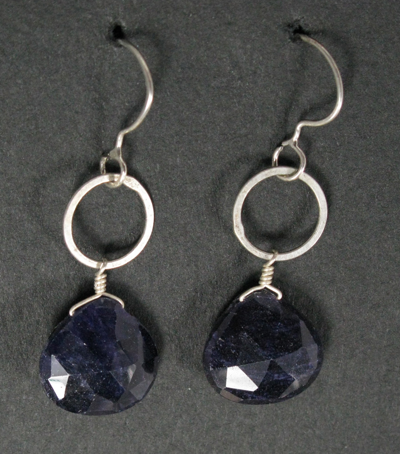 Sapphire Briolettes on Silver Ring Earrings