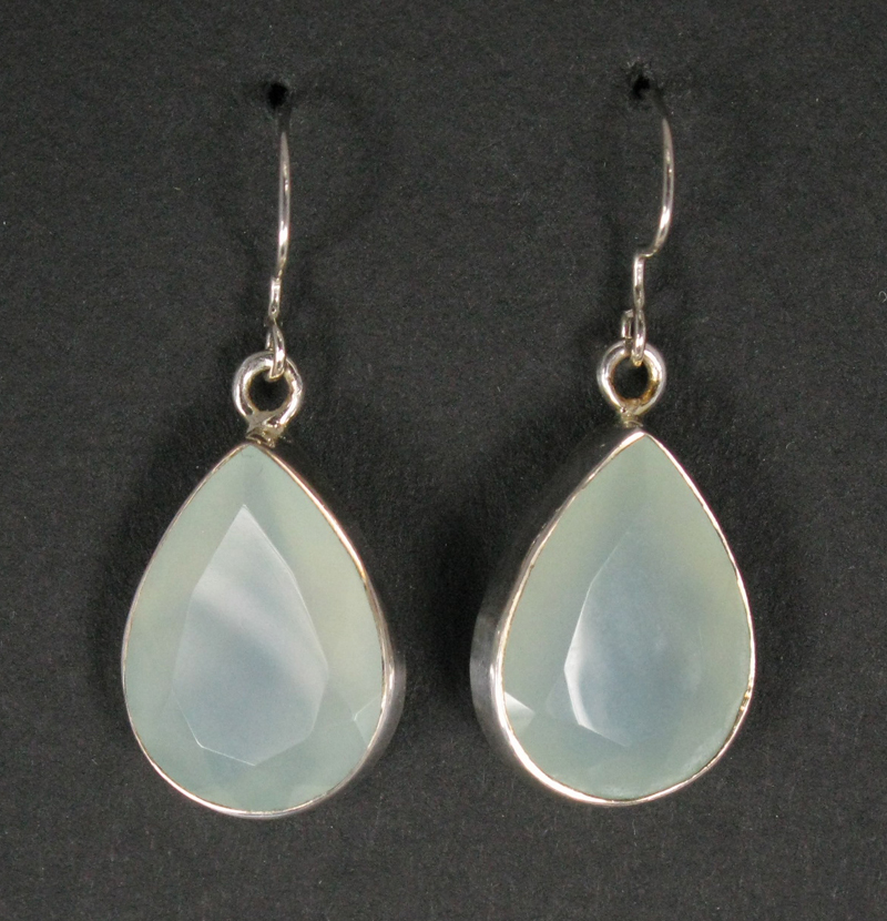 Peruvian Opal Teardrop Earrings - Silver