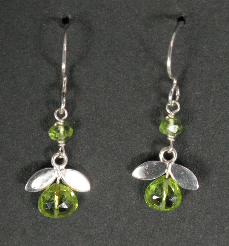 Gemstone Flower Earrings with Silver Leaves