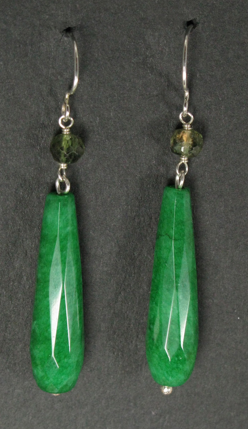 Long Teardrop Gemstone Earrings