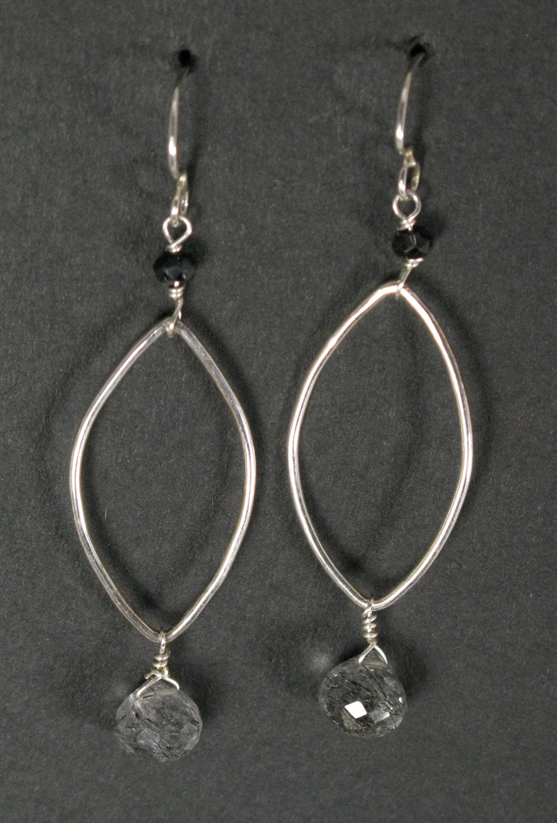 Tourmalated Quartz on Silver Oval Earrings