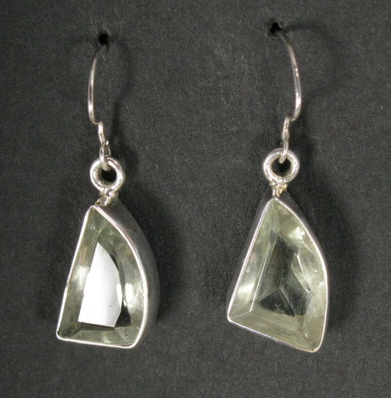Green Amethyst Chunk Earrings