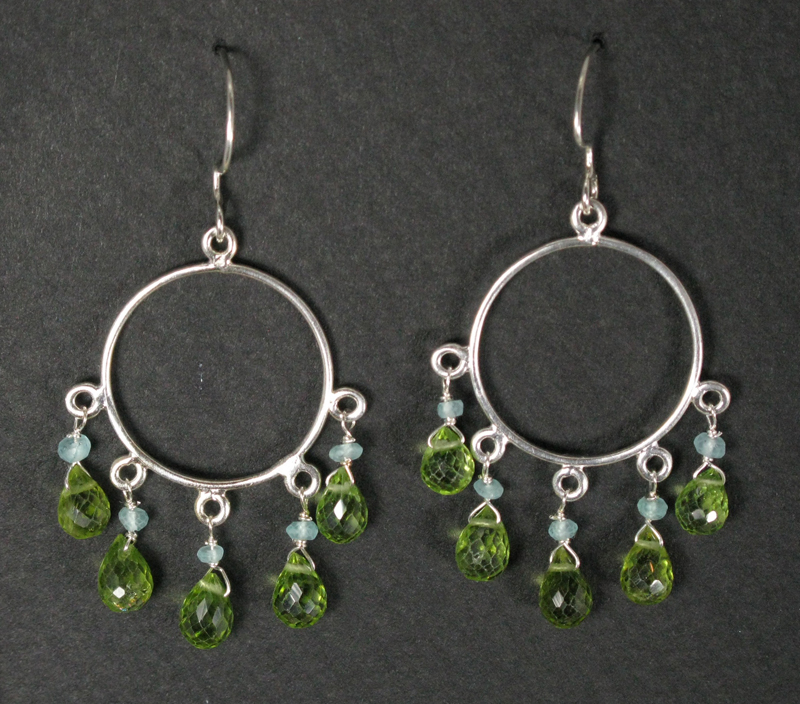 Peridot and Silver Chandelier Earrings