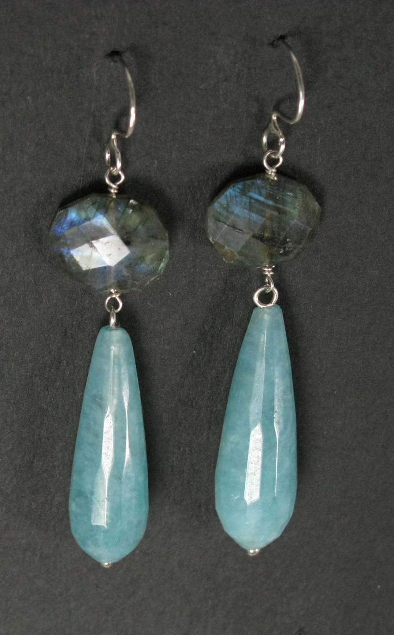 Silver Large Stone and Drop Earrings