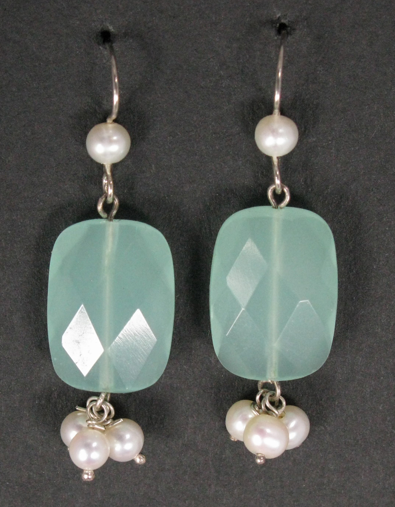 Silver Faceted Stone and Cluster Earrings