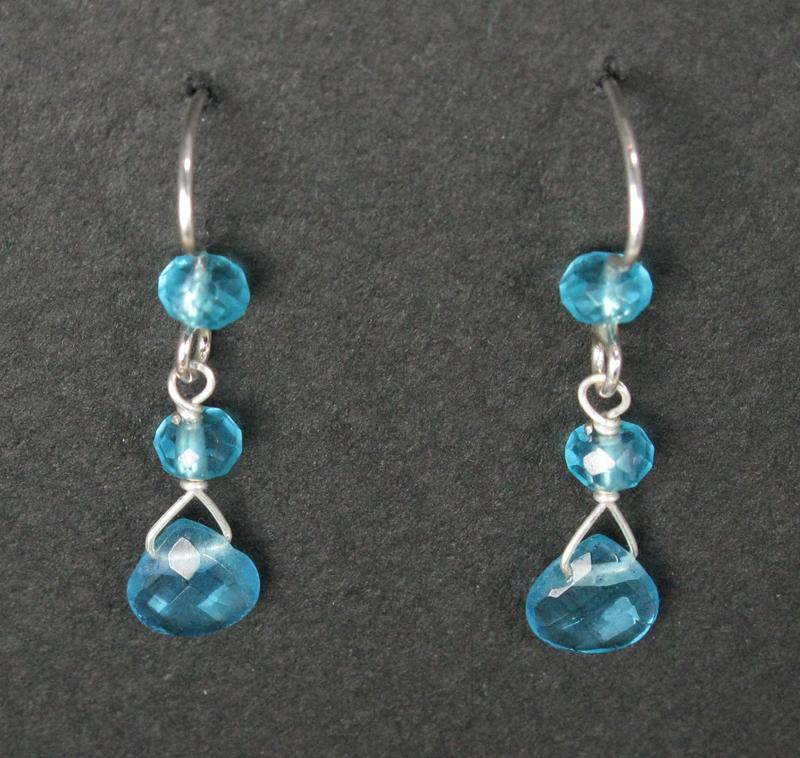 Silver Triple Stone Drop Earrings