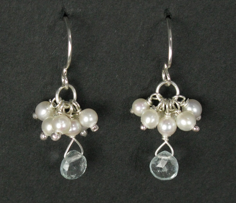 Silver Cluster Drop Earrings