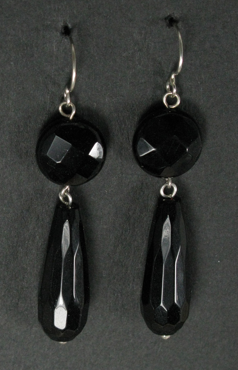 Silver Faceted Stone and Drop Earrings
