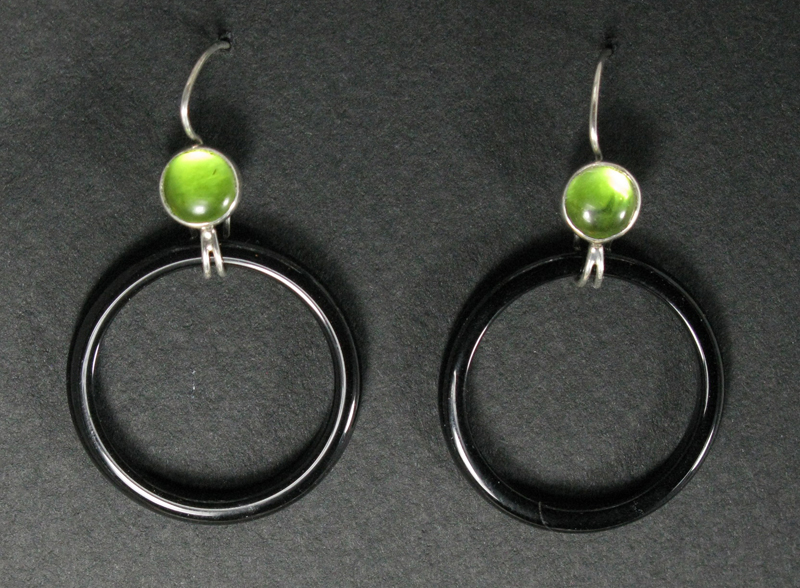 Silver Stone Hoop Earrings
