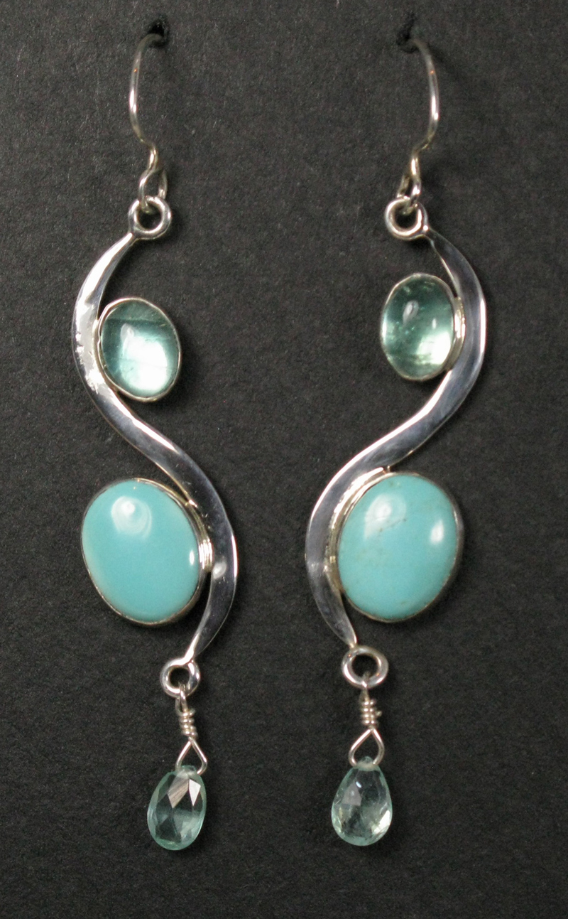 Silver Stone and Curve Earrings