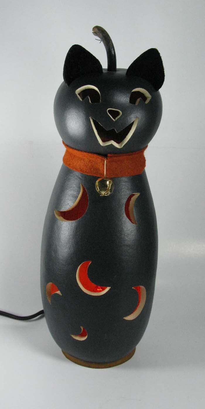Raven Black Cat Illuminated Gourd