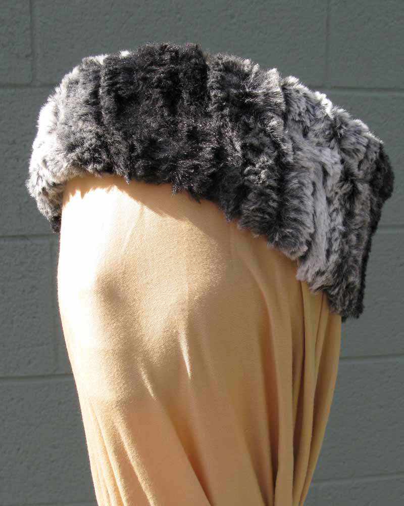 Faux Fur Headband/Neck Scarf in Chinchilla Black