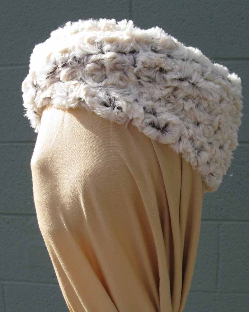 Faux Fur Headband/Neck Scarf in Brown Rosebud