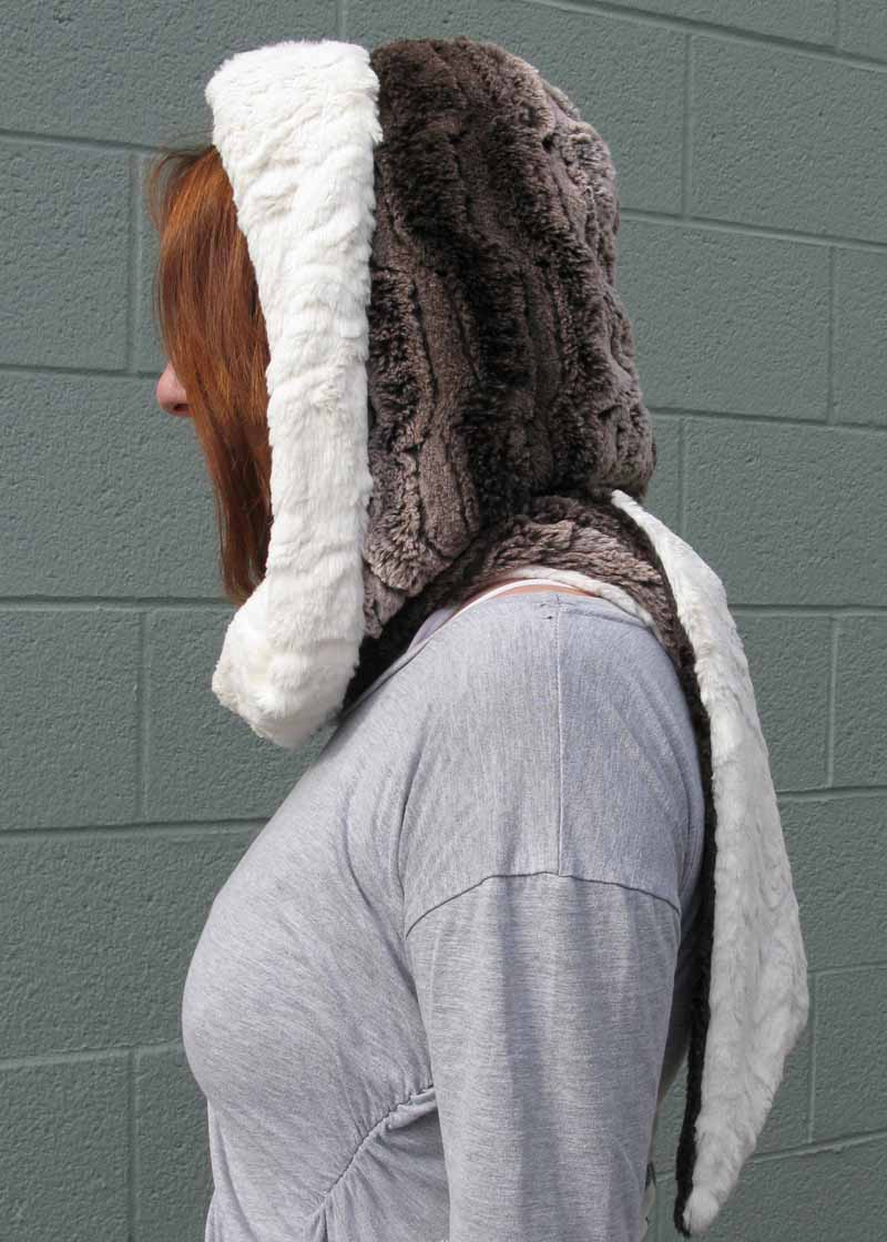 Faux Fur Hoody Scarf in Brown Chinchilla/Ivory